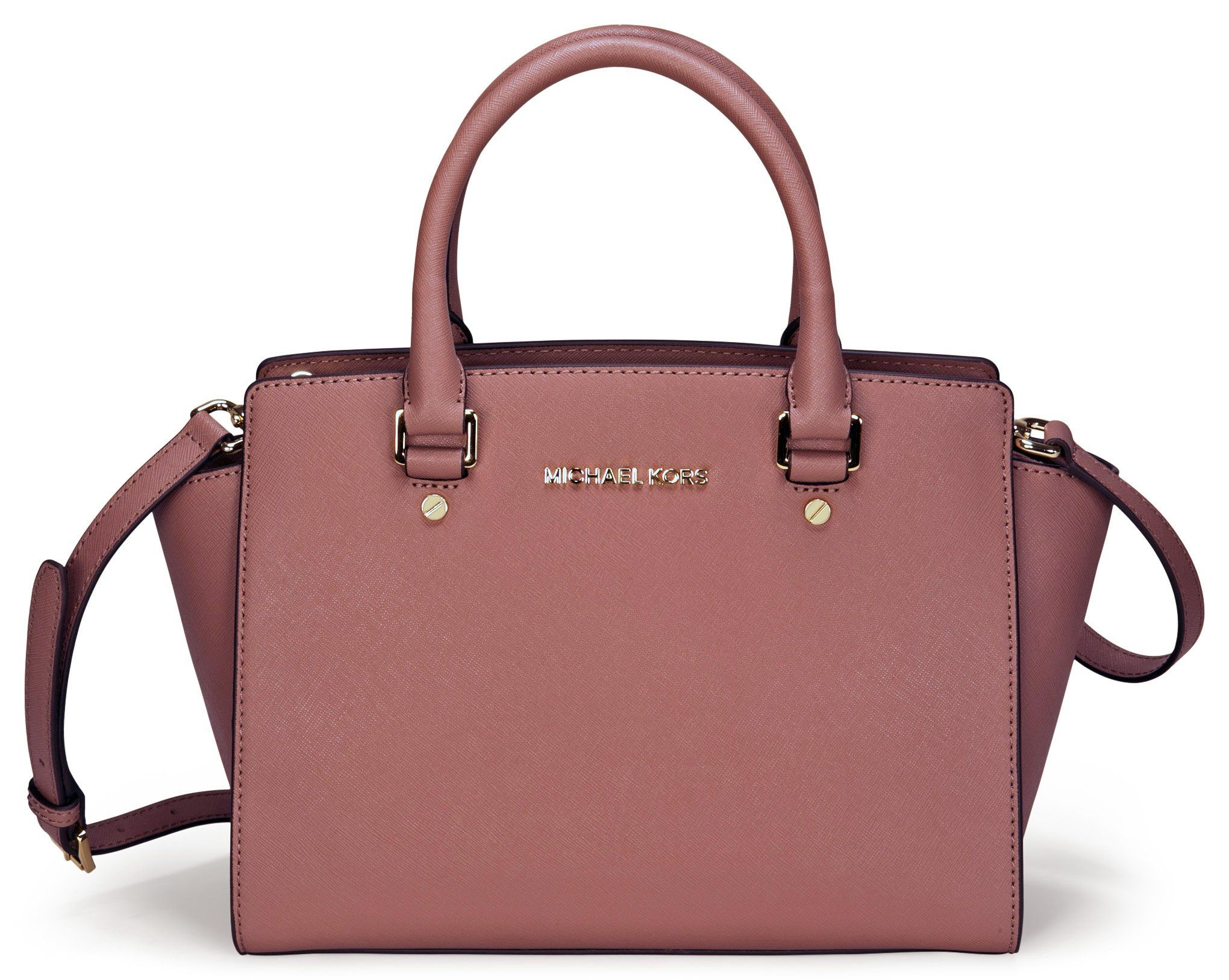 Michael Kors Selma Dusty Rose Medium Satchel Leather Handbag ...