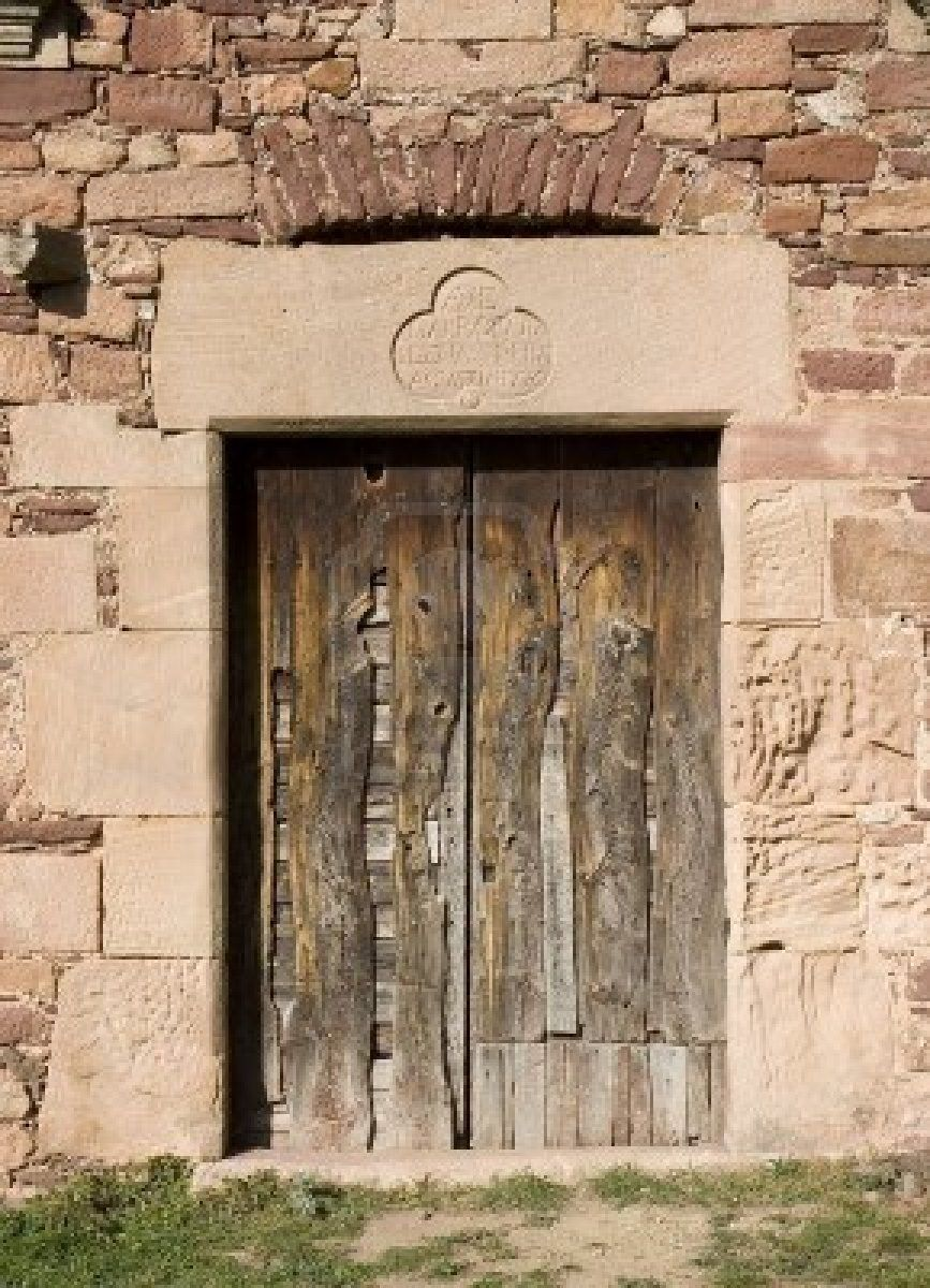 Weathered wooden door on an old house