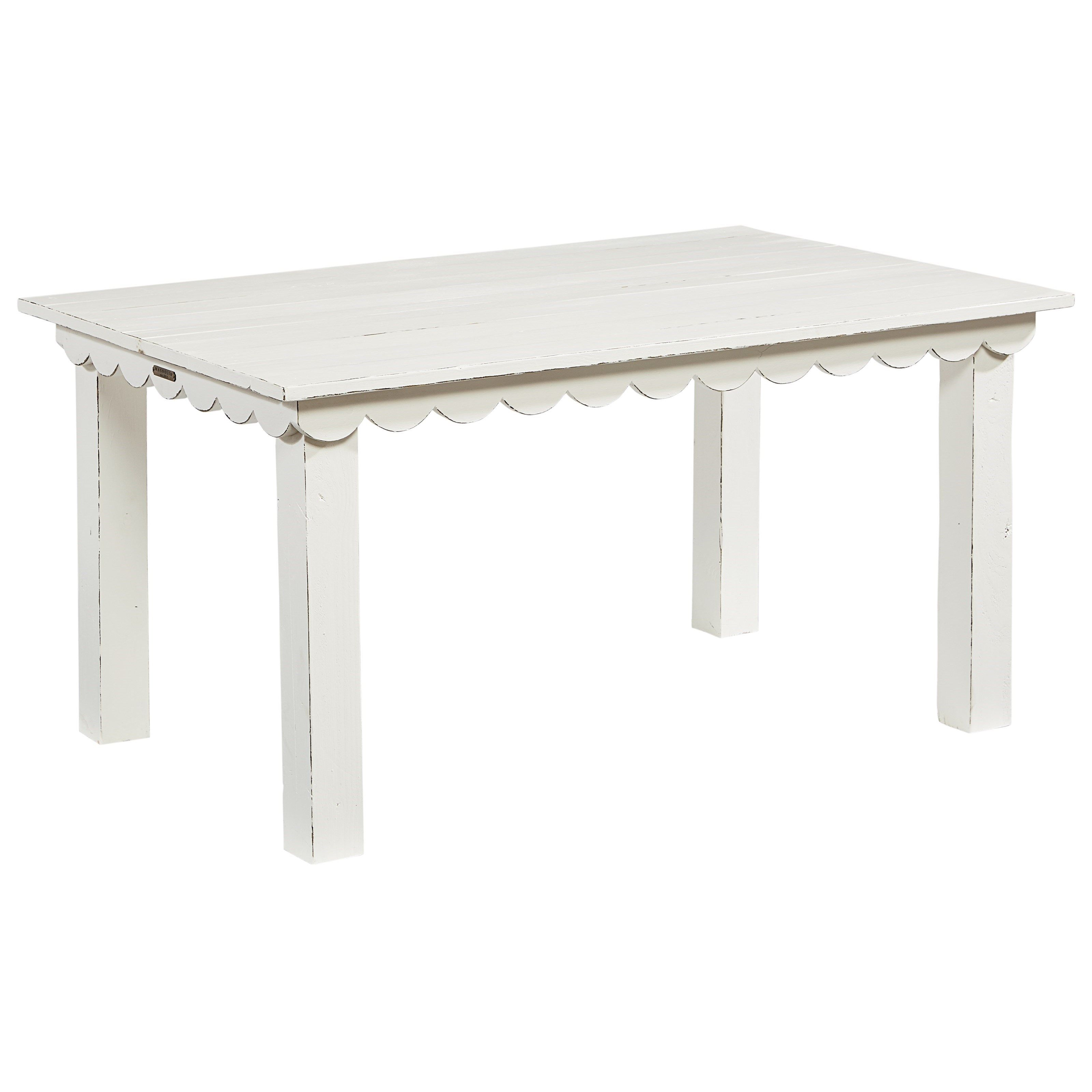 Farmhouse Kid's Table With Scalloped Trim And Square Legs
