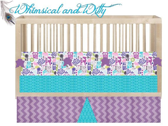 Custom Crib Bedding Hoot Owl Aqua Purple Pink