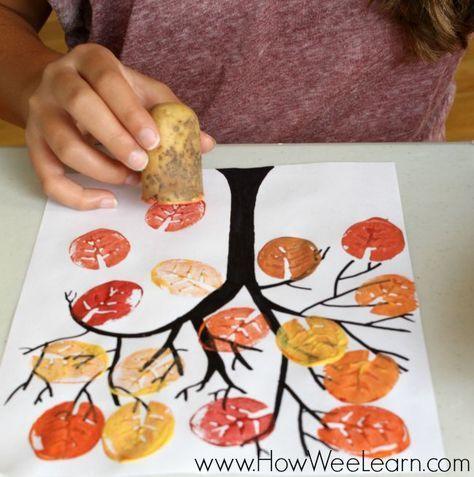 Potato stamps make a beautiful fall leaf painting project. #food