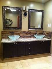 Bathroom Vanity Backsplash With Vessel Sinks! Need To Swap Out The Mirrors~
