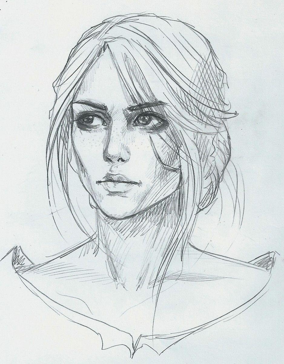 Illustration sketch карандаш caricature девушка цири witcher3