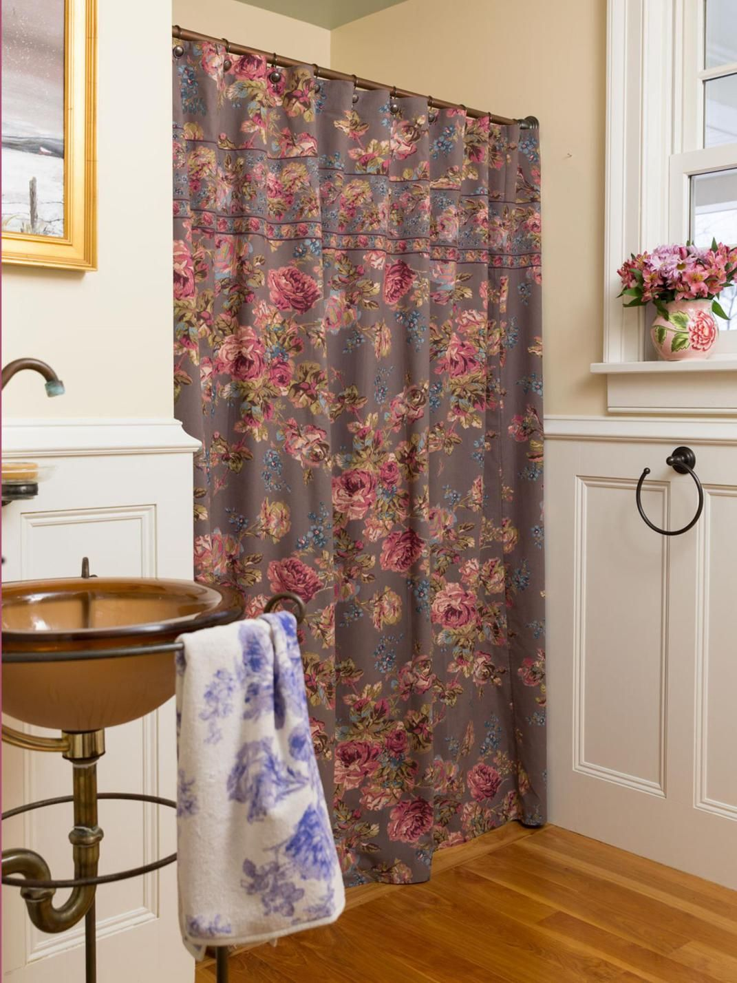 Inexpensive Victorian Shower Curtain With Valance 21