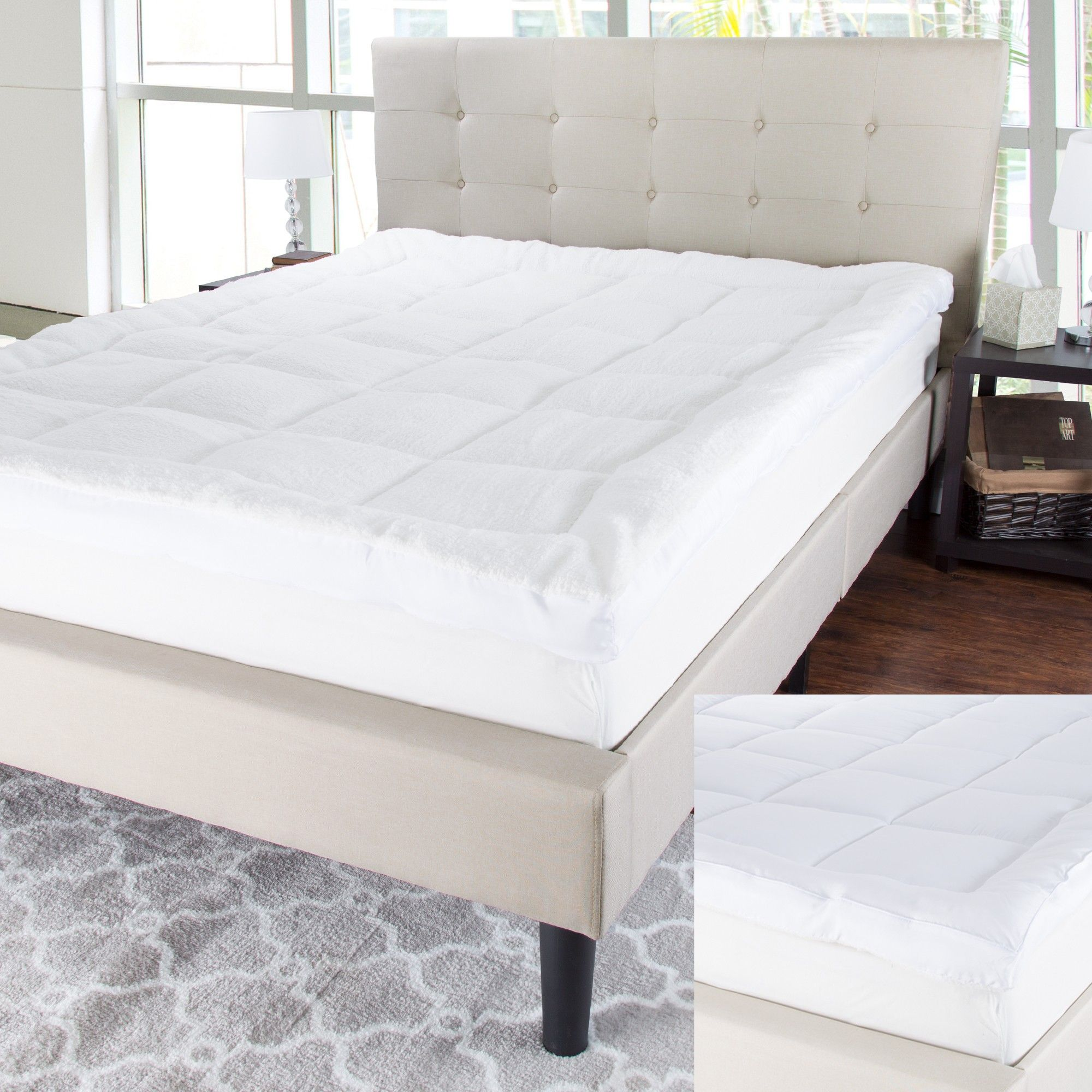 Reversible Down Alternative Topper With Sherpa Queen White