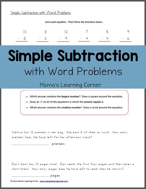 Simple Subtraction With Word Problems Free Worksheets