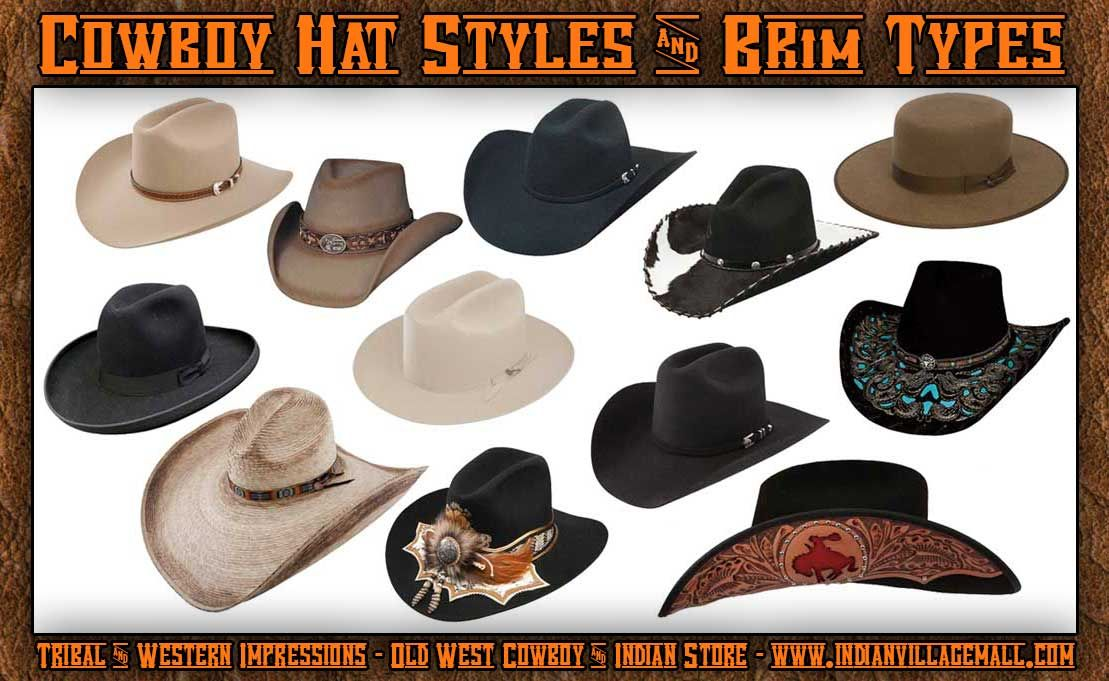 6f3ac62c9 Brim Styles Of Cowboy Hats From Tribal And Western Impressions - www ...
