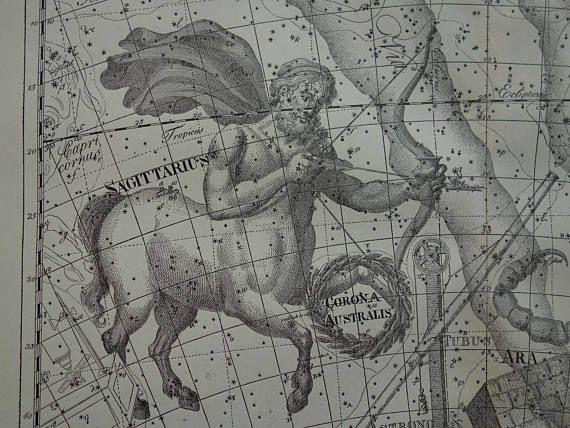 ASTRONOMY old print of Scorpio Sagittarius Saggitarius sign | Etsy |  Saggitarius constellation, Zodiac signs astrology, Constellations