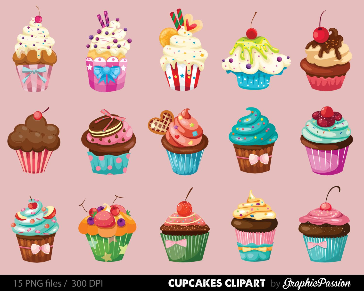 Cupcake Vector Art : Cupcakes clipart digital cupcake clip art cupcake digital ...