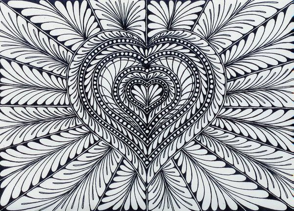 ☮ American Hippie Zentangle Coloring Page Art ☮