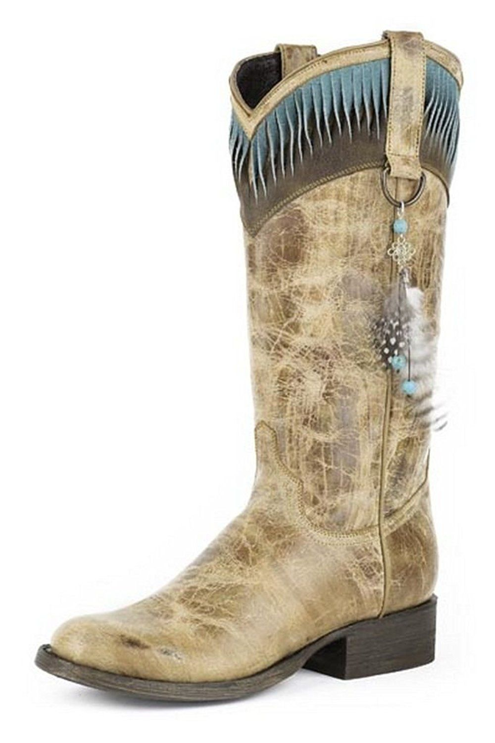 Stetson Women's Kai Feather Cowgirl Boot Round Toe - 12-021-7601-0565