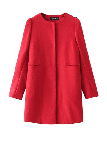 Rounded Collar Long Sleeve Wool Woman Red Coat