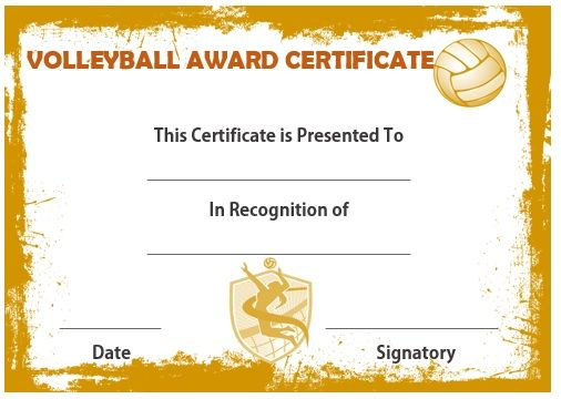 Volleyball Award Certificate  Volleyball Certificates Free