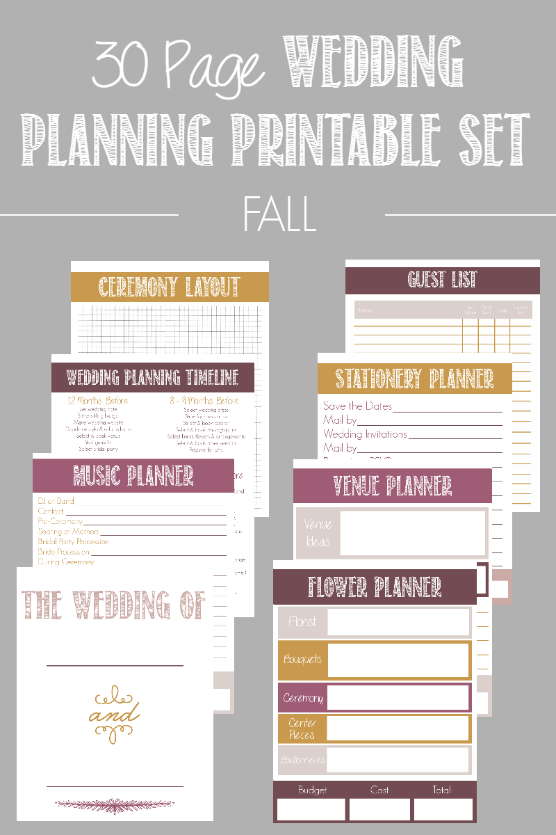 Page Wedding Planning Printable Set available in  color options