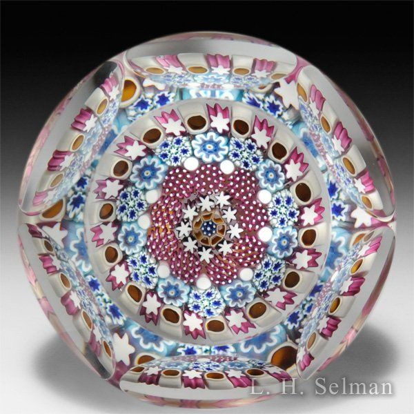 Damon MacNaught 2015 concentric millefiori in a stave basket faceted paperweight. by Damon MacNaught