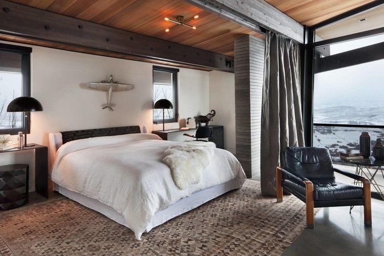 Schlafzimmer Design Grau Braun Schwarz Teppich Muster #interiordesign  #black #brown