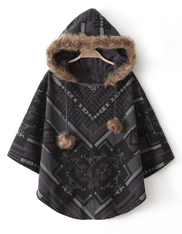 Brown Hooded Faux Fur Geometric Pattern Cape Coat GBP£15.80
