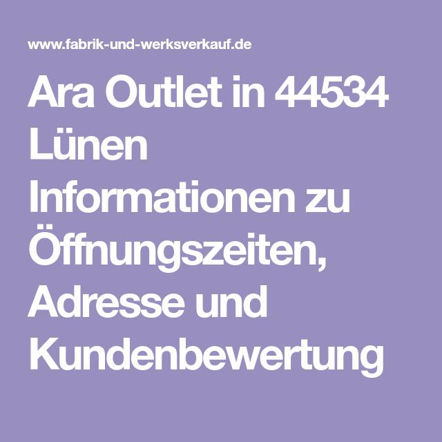 Veröffentlichungsdatum Rabatt neue Version Ara Outlet in 44534 Lünen Informationen zu Öffnungszeiten ...