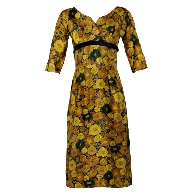 Vintage Silk Yellow Floral Print Cocktail Dress 1950s-1960s#design #model #dress #shoes #heels #styles #outfit #purse #jewelry #shopping #glam #love  #amazing  #style  #swag