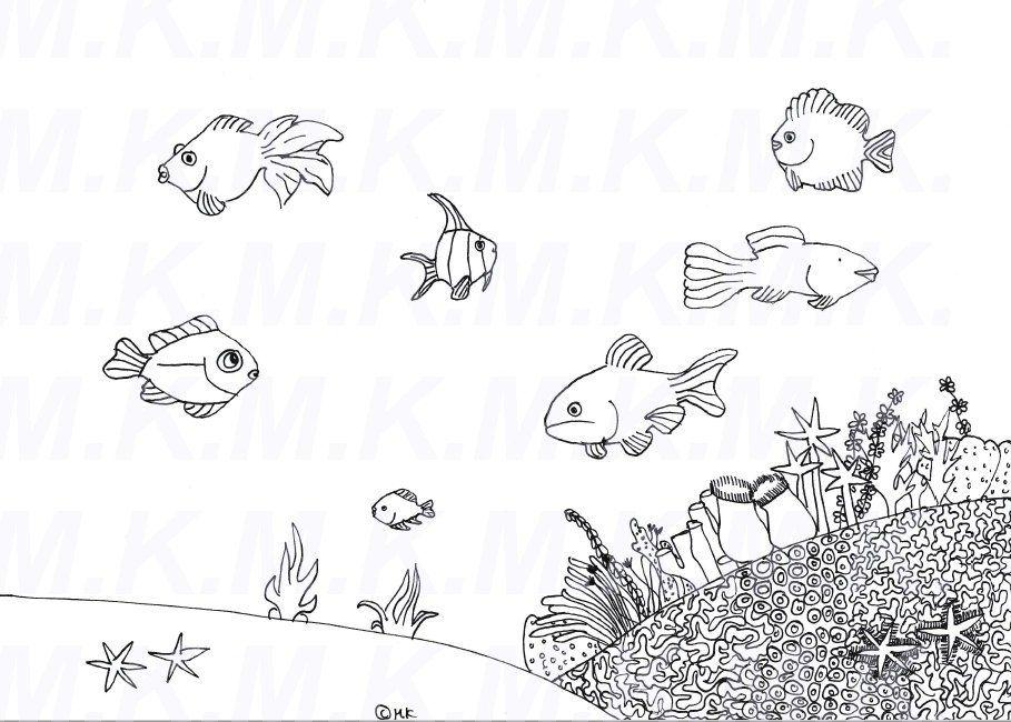 ausmalbild korallenriff meer handgemalt von