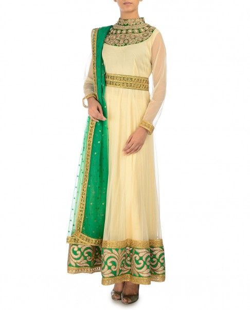 Embellished Cream Anarkali Suit with Green Dupatta - Monikaa's Aura - Designers