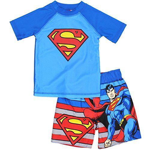 Superman Boys Swim Trunks And Rash Guard Set Superman Manofsteel