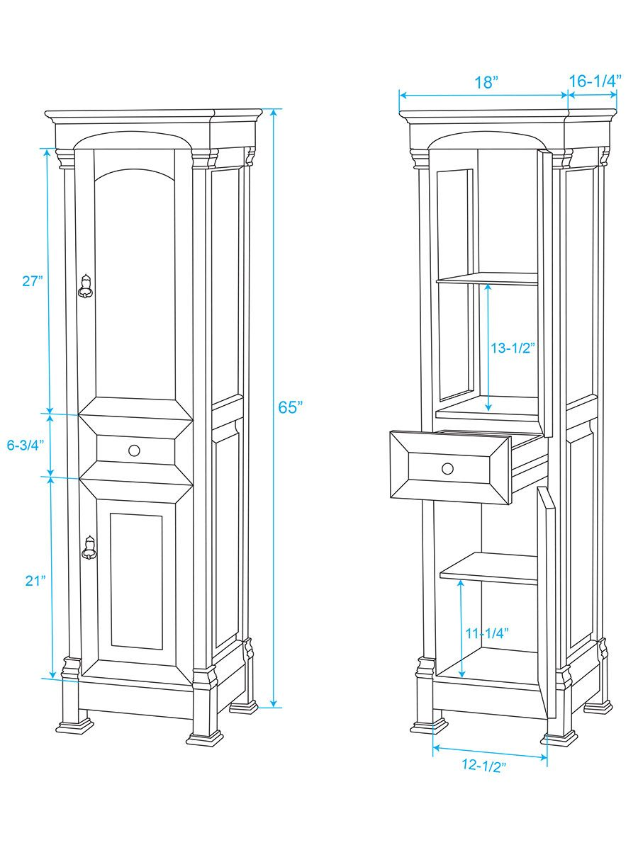 Optional Linen Cabinet - Dimensions | Bathroom | Pinterest | Linen ...