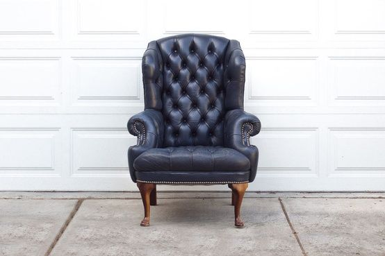 Vintage Navy Blue Tufted Leather Wingback Library Chair 1 195 00
