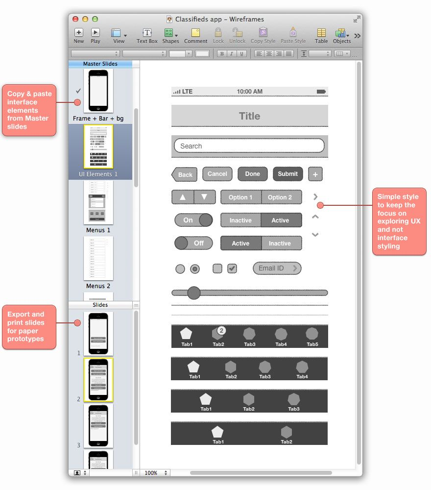 SketchKit iPhone App Wireframes in Keynote Wireframe