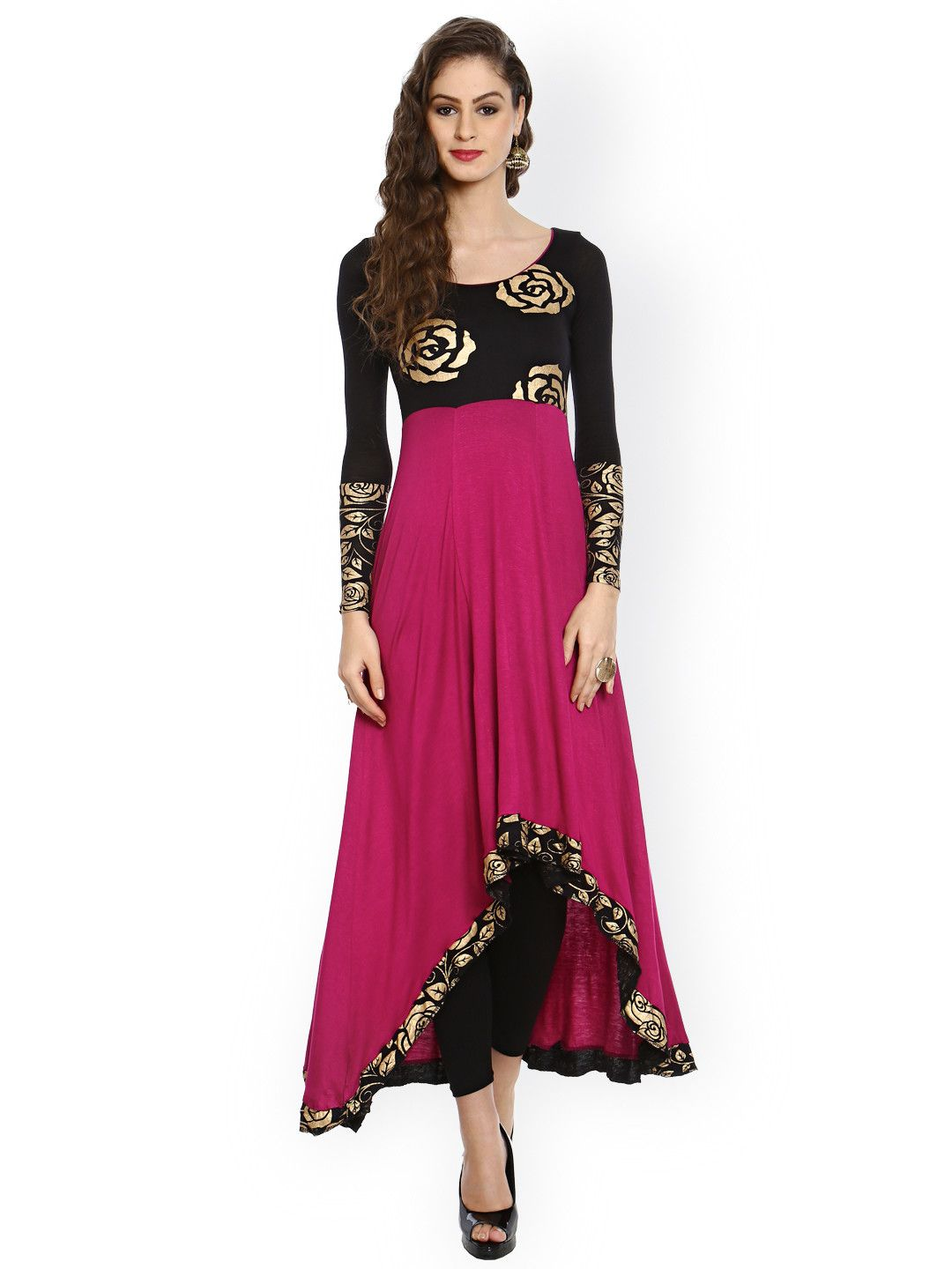 Buy Ira Soleil Black & Magenta Floral Print Anarkali Kurta - Kurtas for  Women | Myntra