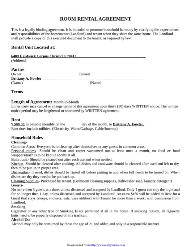 Download House Rental Agreement For Free Tidyform Anabella