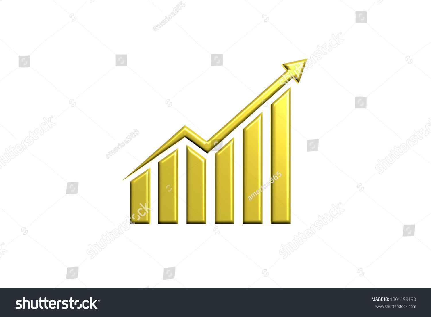 Finance Rising Up Logo Gold Style 3d Render Illustration Finance Business Bar Graph Chart Growth Success Financial Gold Style Finance Illustration