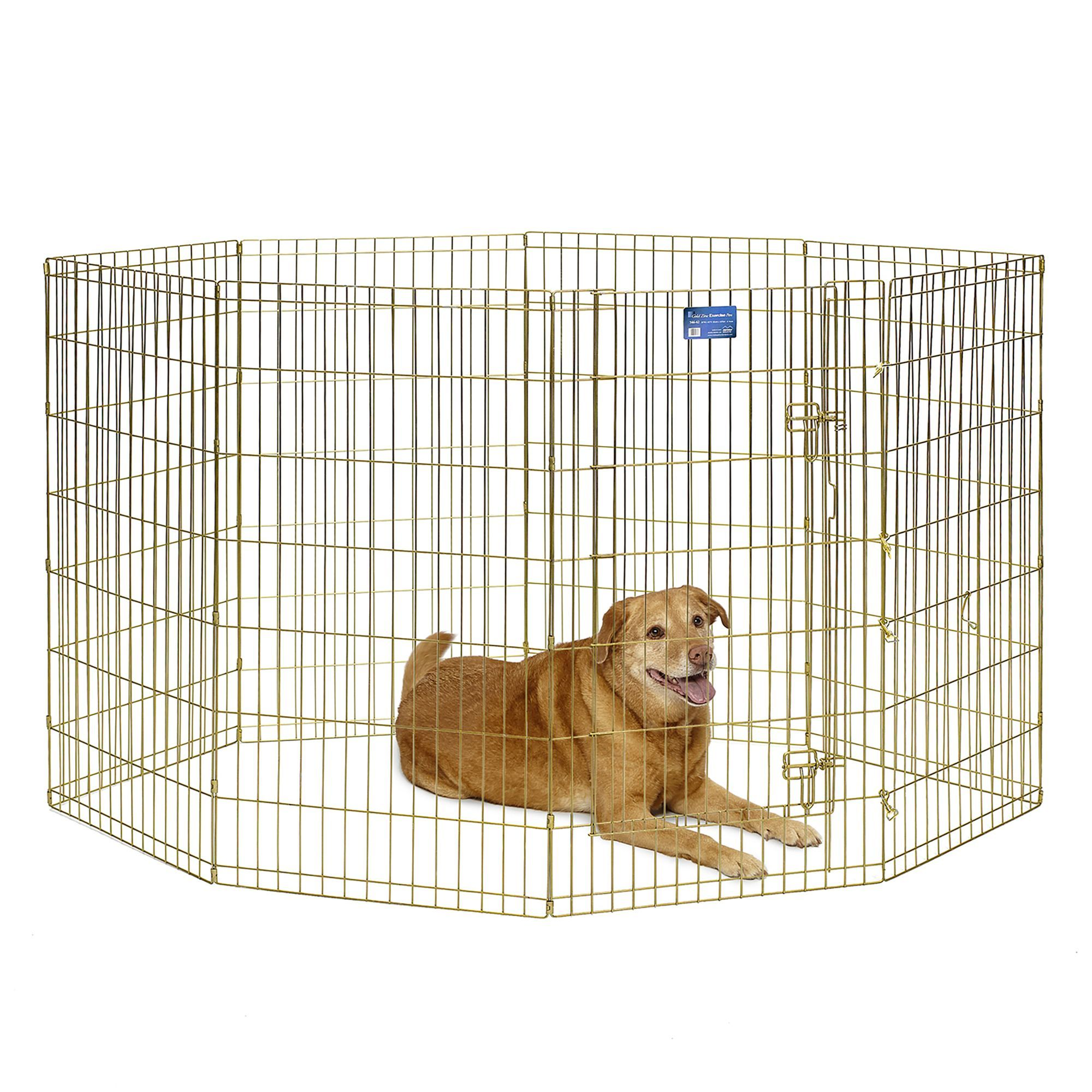 Midwest 8 Panel Exercise Pen Size 24 W X 42 H Gold Steel Dog Playpen Playpen Dog Crate