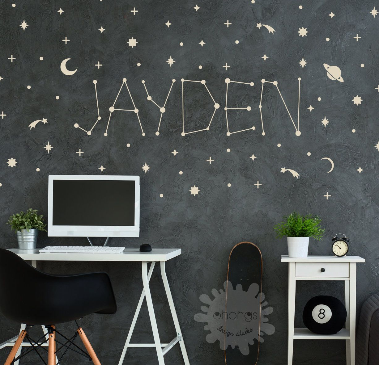 Space name wall Decal / Custom name sticker / Personalized  Etsy