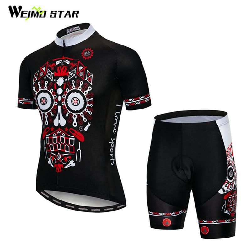 317f5823f Weimostar Black-Red Skull Cycling Jersey Set Men Summer Mountain Bike  Clothing Ropa Ciclismo Quick