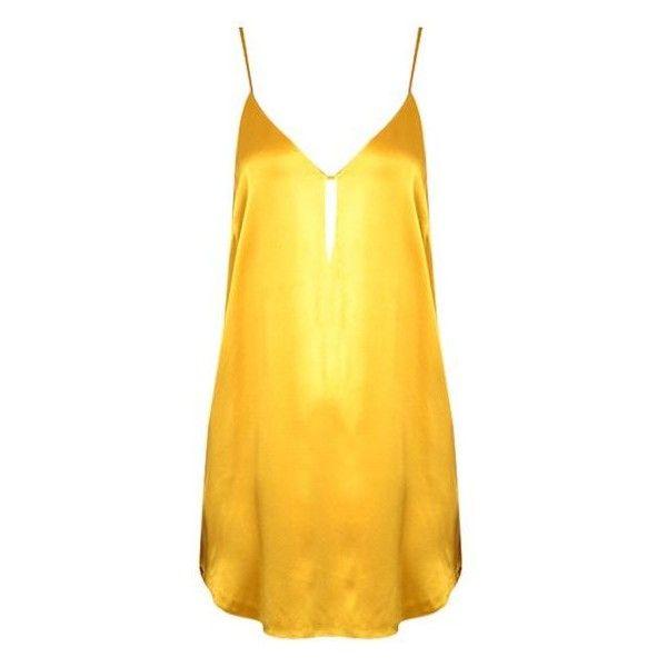 22df130f7105 Silk Slip Mini Dress in Mango ❤ liked on Polyvore featuring dresses, mini  dress, yellow slip dress, silk slip, short yellow dress and yellow mini  dress