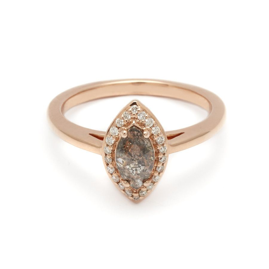 all i want is rose gold and tall stones | Marquise Rosette Ring - Grey Diamond – Anna Sheffield Jewelry