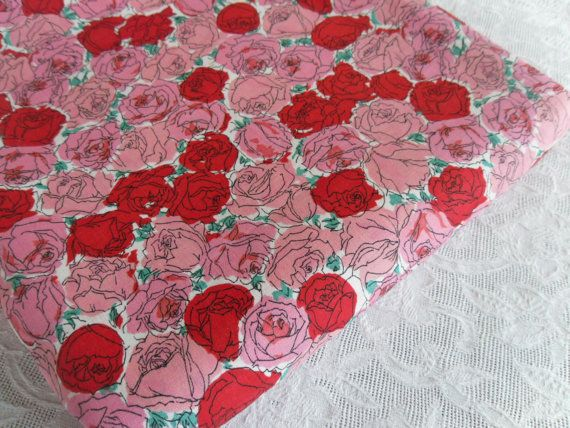 Vintage Fabric Pink Rose Floral Fabric Red Cotton by rubisco