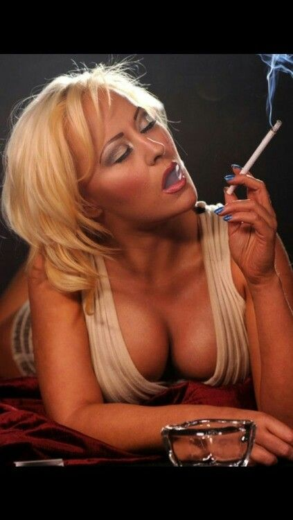 Mature blonde smoking