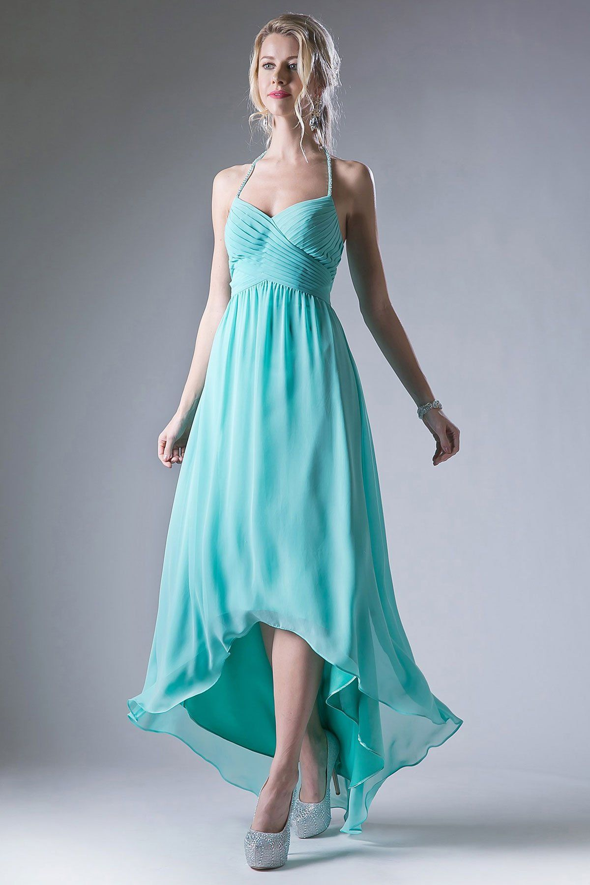 599cf1a204d365 Solid Color Bridesmaid Dress has Pleated Halter Top with Sweetheart  Neckline