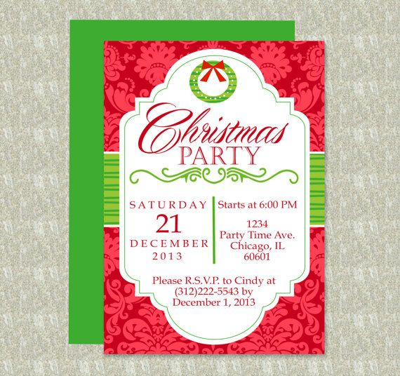 Christmas Party Invitation - Editable Template - Microsoft Word ...