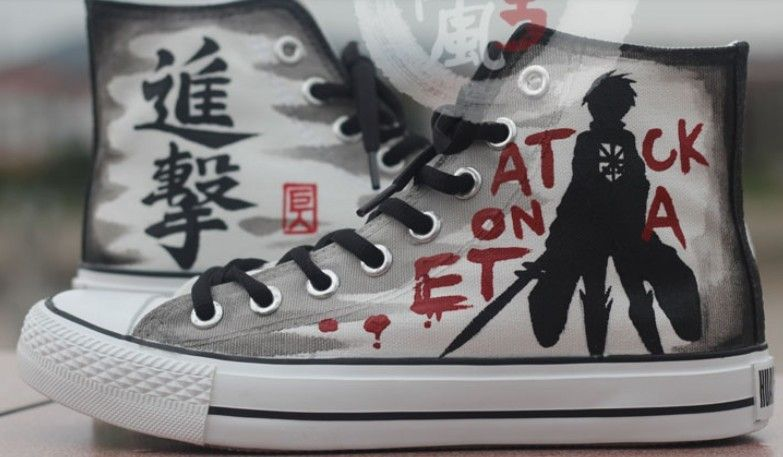 5d85497249f321 Attack on titan Custom  Anime Shoes High-top Painted Canvas Shoes ...