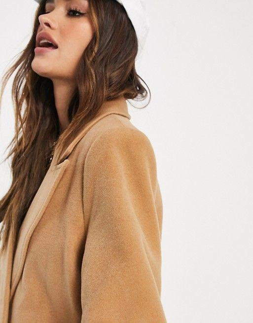 Missguided oversized longline coat in camel | ASOS