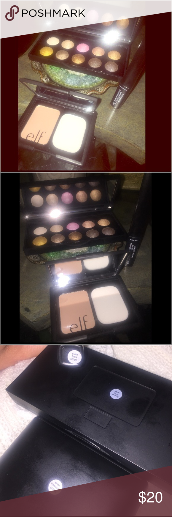 Eye Creams ELF Eye Palette Foundation  proof Mascara ELF Eyeshadow palette see sticker on back in photo 3 for name  Face Makeup with sponge see photo and Waterproof lengt...