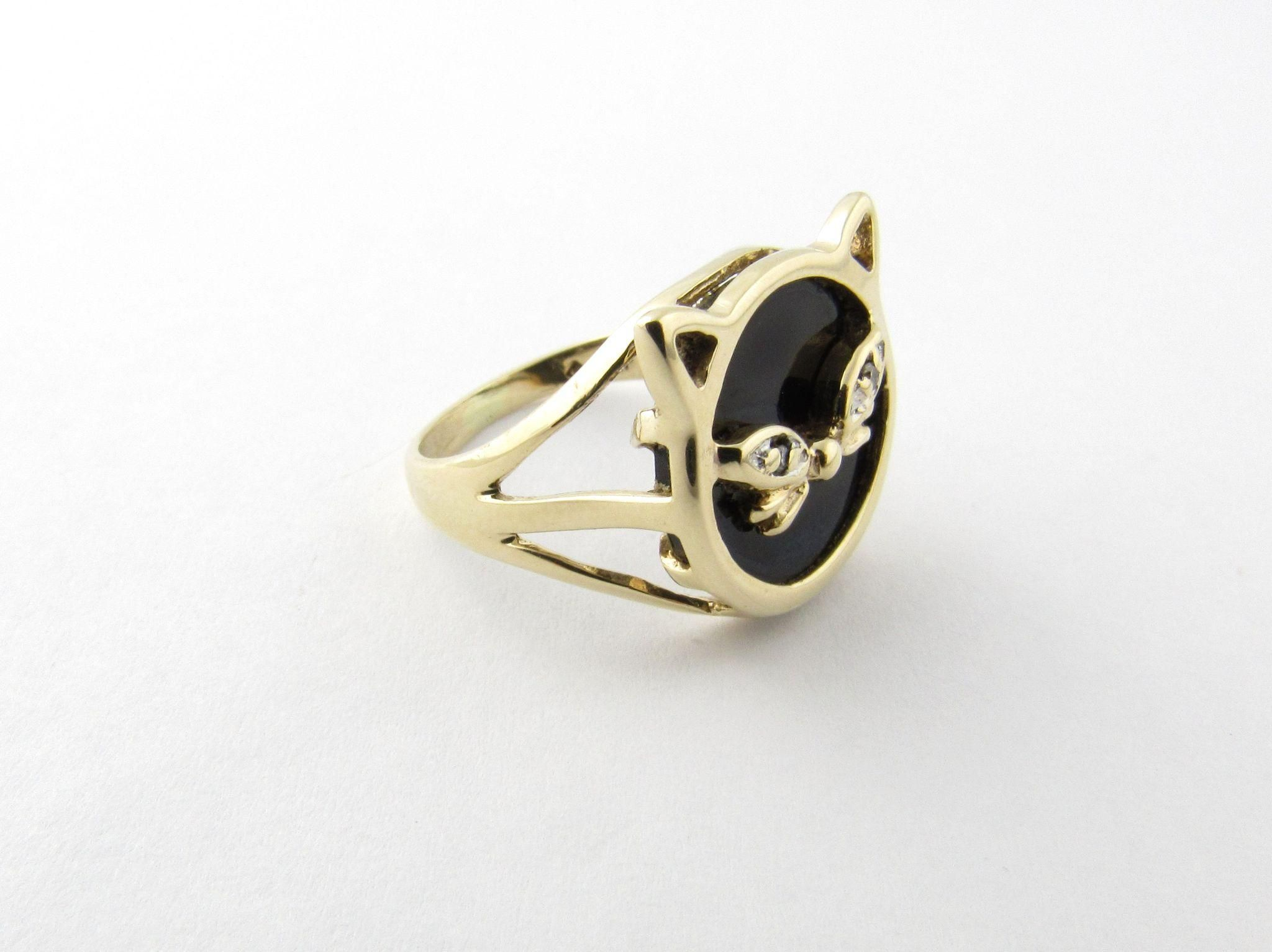 Vintage 10 Karat Yellow Gold Black Onyx Cat Ring Size 4 5 Cat Ring Cat Face Ring Ring Size