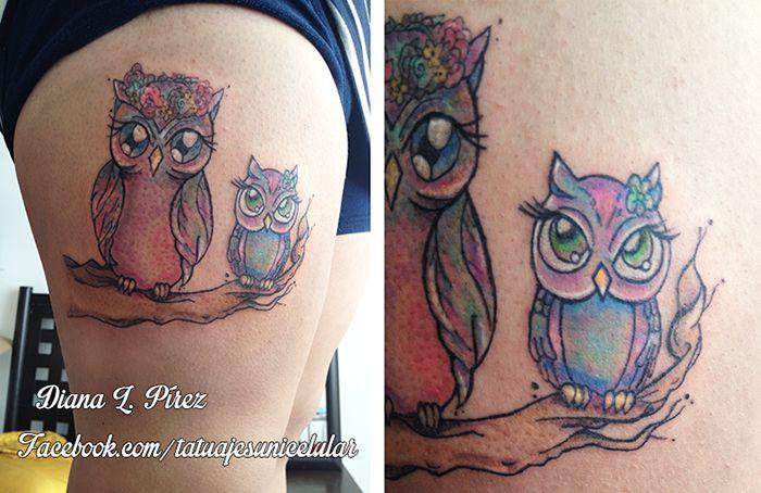 Two Owls I Designed And Tattooed 3 Tattoo Girly Owl Art Design Cute Tatuajes Tattoos Tattoo Portfolio Owl Tattoo