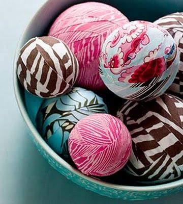 Decorative balls made with fabric scraps