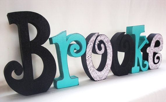 Items similar to Wood Letters Black and Turquoise on Etsy