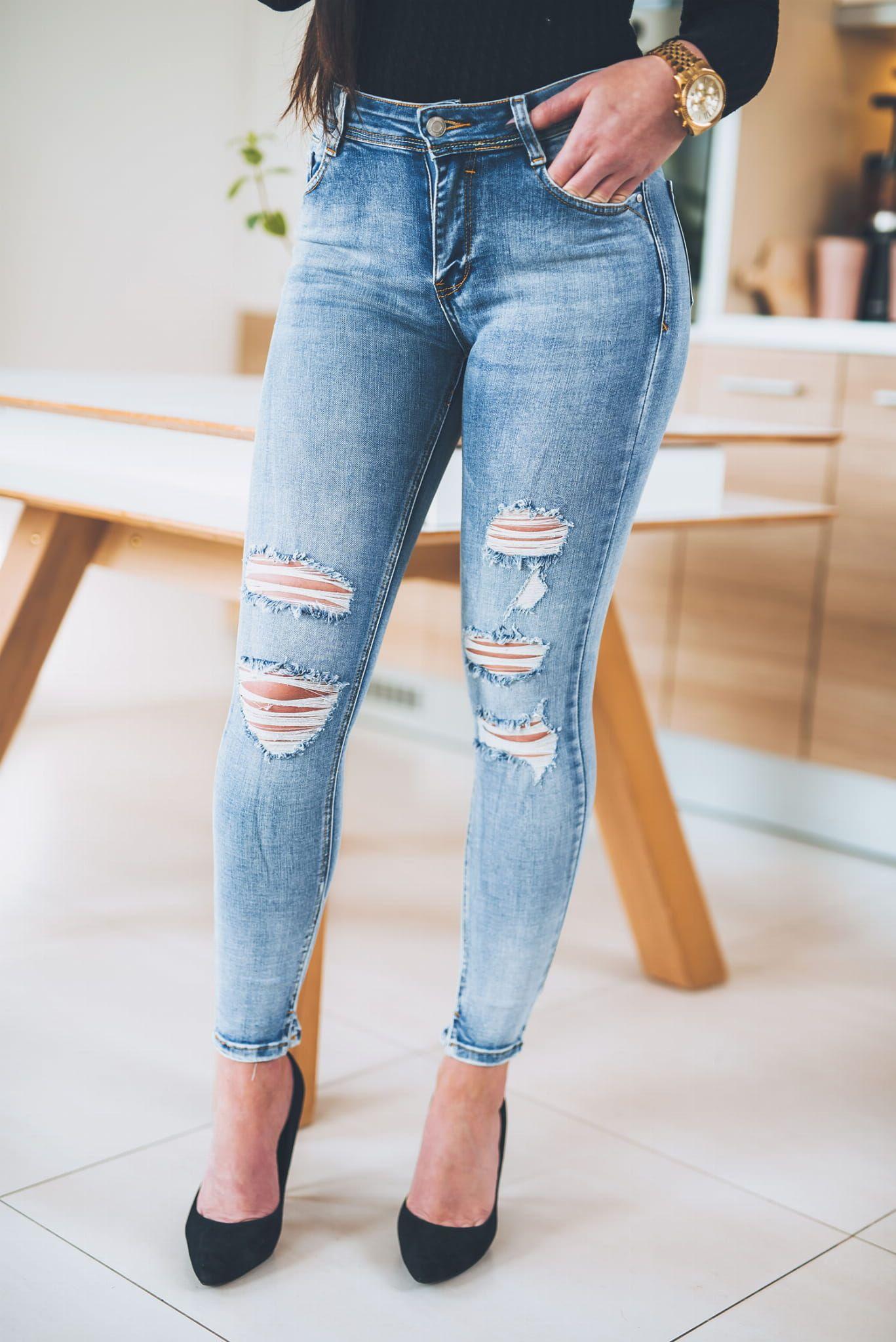 Z295 Dopasowane Jasne Dzinsy Damskie Z Dziurami Rozmiar Xs S M L Xl Skinny Jeans Fashion Denim