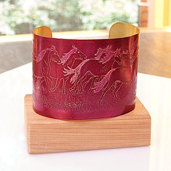"HORSE Bracelet ETCHED BRASS Cuff  2"" wide  Running Horses handmade fuchsia pink Joann Hayssen sra equine equestrian, $40.00"